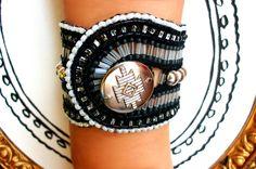 Black cuff -  Lederarmband mit Perlen von Catch In Sky - wunderschöne Einzelstücke   auf DaWanda.com