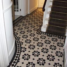 Olde English Katrine Geometric Floor Tiles - Flooring from Period Property Store UK Victorian Hallway Tiles, Tiled Hallway, Victorian Flooring, Hall Tiles, Tiles Uk, Porch Tile, Hall Flooring, Hallway Designs, Painted Floors