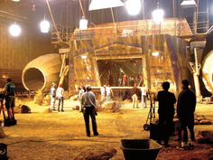 """On the set of """"Serenity"""", looking at the rear cargo door of the ship."""