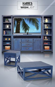 "The extraordinary color of this Captiva Blue Wall unit would be an incredible addition to any home. The azure 66"" TV console features a bottom bridge for storage and two side bookcases to create a beautiful wall of color! The chairside and cocktail tables tie it all together for a cohesive look. Inject more color into your home with the Captiva!"