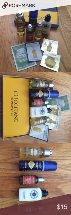 NWT 9-piece L'Occitane deluxe sample bundle Nine L'Occitane items as pictured. All brand-new. Comes with new L'Occitane gift box as well! Immortelle Precious cleansing foam (face wash) 1.7oz., Ultra rich shower cream 1.7oz, Shampoo 1.18oz (I will also include the same sized conditioner as bonus, not pictured as that was used 1x), Divine youth oil sample 0.03oz, Oil makeup remover sample 0.06oz, Divine cream sample 0.05oz, Shea Hand cream 0.10oz, Amande milk concentrate (body cream) 0.2oz…