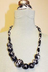 Black Ivory Marbled Shell Beaded Necklace Matching Bracelet Cuban | eBay