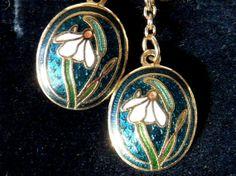 Carrick Celtic Jewellery Enamel Snowdrops Earrings from Scotland, Cloisonne Guilloche