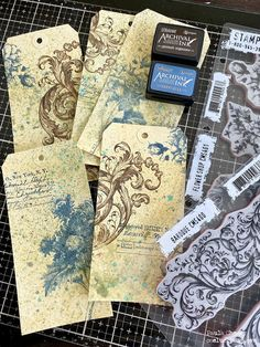 """Hello friends, Tim and I were having a conversation this week about an often asked question he gets, """"what do I do with the tags I make? Scrapbook Blog, Scrapbook Cards, Scrapbooking, Vintage Embroidery, Embroidery Art, Card Tags, Gift Tags, Handmade Tags, Handmade Bookmarks"""