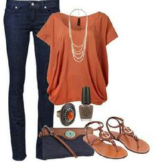 Cute Denim and Orange Outfit and Accessories minus that wack purse an sandals