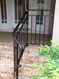 Chapel Hill Custom Wrought Iron Interior Railings - Raleigh Wrought Iron Co. Porch Step Railing, Wrought Iron Porch Railings, Rod Iron Railing, Porch Handrails, Outdoor Stair Railing, Front Porch Railings, Iron Handrails, Wrought Iron Stair Railing, Porch Steps
