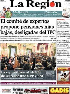 Los Titulares y Portadas de Noticias Destacadas Españolas del 8 de Junio de 2013 del Diario La Región ¿Que le parecio esta Portada de este Diario Español?
