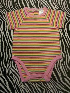 ~ Children's Place Girls Baby Rainbow Striped Bodysuit Shirt Top Size 6 9 M ~EUC