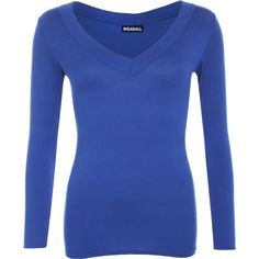 Sophia V Neck Long Sleeve Top ($17) ❤ liked on Polyvore featuring tops, royal blue, stretchy tops, v-neck tops, long sleeve tops, blue top and viscose tops