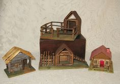4 Different German Erzebirge Twig Village Houses ~ $20.00 Ea. 3 SOLD