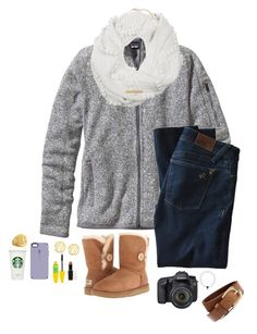 """""""//its 62 degrees here\\"""" by sarah-grace-m ❤ liked on Polyvore featuring Patagonia, DL1961 Premium Denim, UGG Australia, Speck, Maybelline, Wet n Wild, 3.1 Phillip Lim, BP., QVC and Eos"""