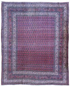 Antique Semiformal Rugs Gallery: Antique Seraband Rug, Hand-knotted in Persia; size: 8 feet 6 inch(es) x 10 feet 4 inch(es)