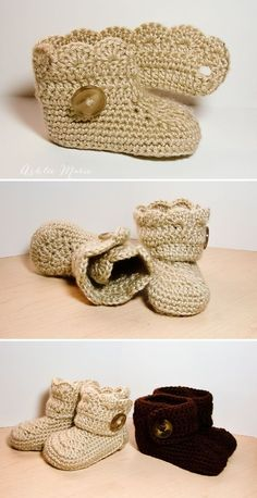 Crochet Wrap Around Button Baby Boots - 17 Free Crochet Baby Booties Pattern / Crochet Baby Shoes - I Heart Crafty Crochet Motifs, Free Crochet, Crochet Boots, Crochet Slippers, Crochet Baby Boots Pattern, Crochet Sandals, Baby Booties, Baby Shoes, Booties Crochet