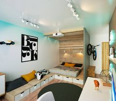 Teen bedroom - great usage of small space (From IK-architects)