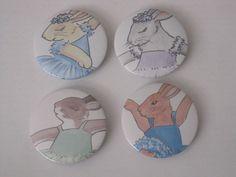 Ballet dance bunny rabbit pin / badge x 4 by DandelionsGallery