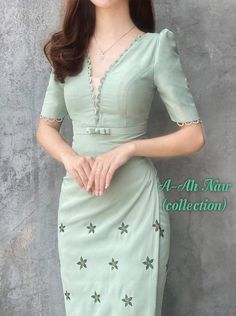 Traditional Dresses Designs, Myanmar Dress Design, Myanmar Traditional Dress, Rain Photography, Fancy Blouse Designs, Beautiful Asian Women, Asian Woman, Silk Dress, Ankara