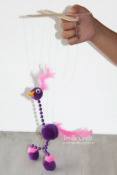 Easy Silly Bird Marionette DIY tutorial!