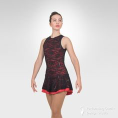 Figure ice skating dress made from contrast poly-spandex and black sequins lace overlay. Neck closure. 80%Nylon, 20%Spandex Colors: Fuchsia/Black, Red/Black, Lilac/Black, Mint/Black, Turquoise/Black Sizes: Child's: Small Child, Intermediate Child, Medium Child, Large Child      Adult's: XSmall Adult, Small Adult, Medium Adult, Large Adult Gymnastics Outfits, Gymnastics Leotards, Latin Ballroom Dresses, Ice Skating Dresses, Black Sequins, Lace Overlay, Figure Skating, Dance Costumes, Tank Dress
