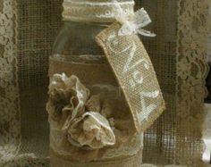 Vase à fleur mariage toile de jute, porte-bougie ViNTAGE LACE, chute de mariage, rustique, shabby chic, chic de pays