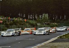 """The Porsche 956 of Bell/Bellof in pole position at the last 1000 Km Race held on the Nordschleife in 1983. Because the new Grand Prix Circuit was already under construction, the cars had to start at the long straight of """"Döttinger Höhe""""."""