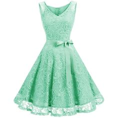 Dressystar Women Floral Lace Bridesmaid Party Dress Short Prom Dress V... (€25) ❤ liked on Polyvore featuring dresses, floral dresses, short green dress, floral cocktail dresses, green bridesmaid dresses and short cocktail dresses