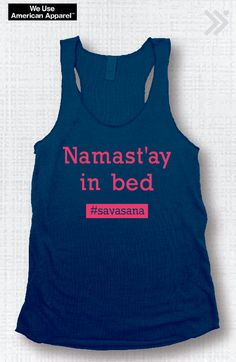 Namast'ay in Bed Funny Yoga Tank Navy/Neon Coral Ink Gym Shirt,Gym Tank,Yoga Top, hot yoga, Gym Top, Graphic Tee, Fitness Tank, Yoga Vest
