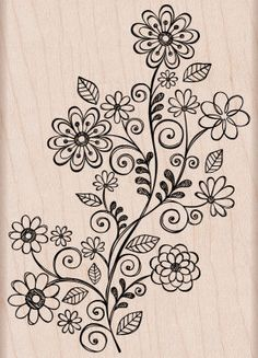 Flower Swirl Vine Woodblock Stamp