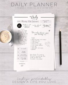 Daily Planner Printable day organizer A4 daily by IndigoPrintables