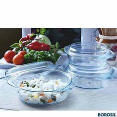 BOROSIL-SET OF 3 ROUND + + - % flame proof and hot plate proof•Can be placed directly from freezer/frig to flame without fear of cracking•Can be used in microwave, oven and dishwasher Microwave Rice Cooker, Microwave Cookware, Microwave Dishes, Buy Kitchen, Kitchen Items, Kitchen Utensils, Kitchen Appliances, Kitchenware, Tableware