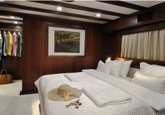 One of the elegant bedrooms aboard luxury sailing yacht Regina