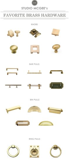 A roundup of Studio McGee's Favorite Brass Hardware