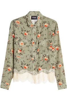 Printed Silk Blouse with Lace   The Kooples