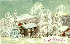 Nyttårskort Paul Lillo-Stenberg Utg Mittet Vintage Christmas, Christmas Cards, Scandinavian Christmas, Festive, Drawings, Winter, Painting, Art, Kunst