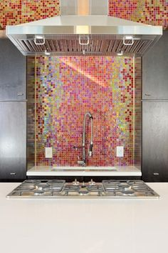 Mosaik Fliesen Küchenrückwand bunt gestalten Ideen