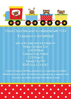 Jackson's train birthday invitation!