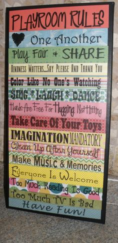 Playroom+rules+kid+decoration+wall+decoration+by+DivineDesigns311,+$79.99  Uh I absolutely love this. Wouldn't be hard to make either