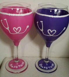 Nurse Wine Glass  Doctor Wine Glass by ConfettiWine on Etsy