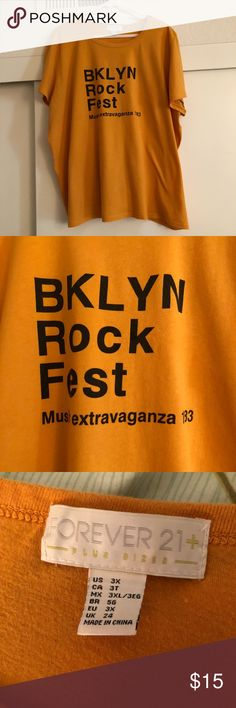"80e43f8548bd ... ROCK FEST"" Graphic Tee Brooklyn (BKLYN) Rock Fest Music Extravaganza  Mustard Yellow FOREVER 21 Plus Size Graphic Tee Forever 21 Tops Tees -  Short Sleeve"
