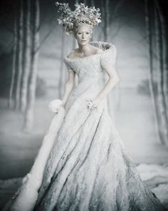 Tilda Swinton as The White Queen photographed by Paolo Roversi