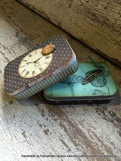 Vintage style tins for keepsakes by PennybrightStudios on Etsy