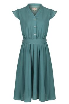 Kody, a vintage inspired tea dress in sage green. This button through chiffon tea dress is the perfect statement piece and can be styled for all occasions. 1940s Tea Dress, Retro Dress, Vintage Gowns, Vintage Inspired Dresses, Dress Vintage, Green Tea Dresses, Lindy Bop Dress, Roll Hairstyle, Pinup Couture