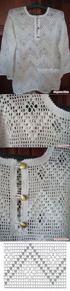 Филейная рубашка. Работа Анжелы - вязание крючком на kru4ok.ru