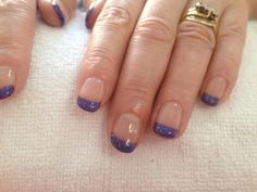 Shellac with purple glitter tips
