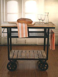 Industrial Style Kitchen Trolley Kitchen Island ON Metal Wheels Brand NEW | eBay