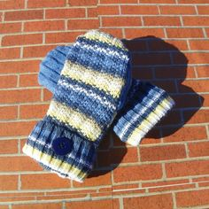 Recycled sweater mittens Toddler mittens handmade mittens toddler gloves blue mittens upcycled sweater mittens fleece mittens yellow