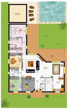 Bungalow de luxe – Faire construire sa maison Dressed plan Ground floor – house – Luxury bungalow Plus Dream House Plans, Small House Plans, House Floor Plans, The Plan, How To Plan, Building A Container Home, Container House Plans, Container Homes, L Shaped House