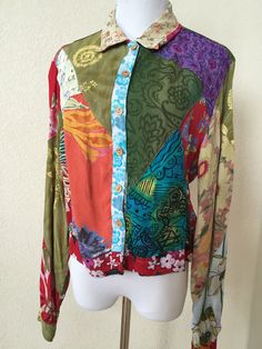 Sacred Threads Boho Sheer Multi Color Patchwork Button Down Shirt Top Blouse L #SacredThreads #Blouse #Casual