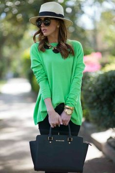Bright green & black.  I never thought of mixing these two colors but it looks great.  Love the bag and top.