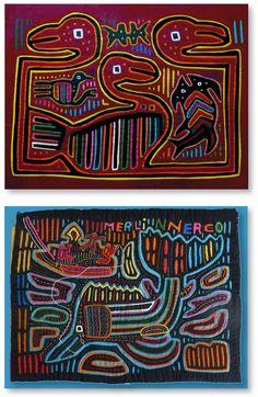 Zwei Molas der Kuna-Indianer – Eine textile Technik, bei welcher verschiedene Stofflagen übereinanderliegen. Molas bestehen aus Stoffresten, die in zwei bis sieben Lagen miteinander vernäht werden und durch Heraustrennen und Umnähen von einzelnen Flächen Motive ergeben.  Die Qualität der Molas ist unter anderem gekennzeichnet durch die Anzahl von verwendeten Stofflagen, die Feinheit der Nähstiche und die Gleichmäßigkeit und Grösse der ausgeschnittenen Teile des Bildes.