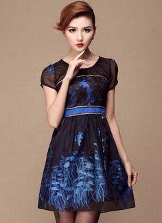 Blue Short Sleeve Contrast Mesh Yoke Embroidery Dress